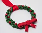 Wreath Christmas Tree Decoration, Wreath Ornament, Christmas Ornament, Green and Red Decorations, Holiday Tree Ornaments