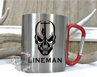 Carabiner mug//lineman mug//stainless steel mug//line wife mug//camping mug//hiking mug//carabiner handle//mothers day gift