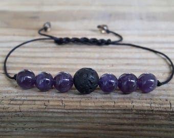 Diffuser amethyst bracelet yoga bracelet lava bead bracelet diffuser bracelet gemstone positive bracelet minimalist jewelry crystal healing