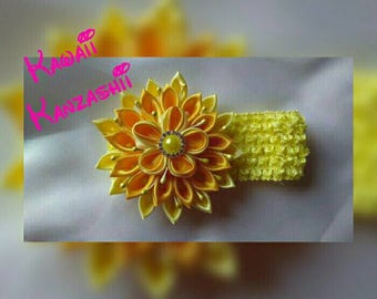 Yellow Kanzashi flower headband for Baby Girls, It can be made on Headband or Hair clip your choice.