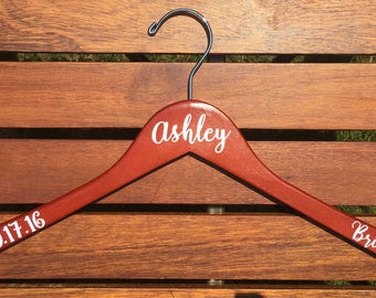 8 Personalized Vinyl Wedding Dress Hangers - Custom Order