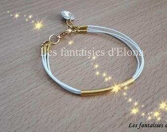 White Leather Bracelet / gold