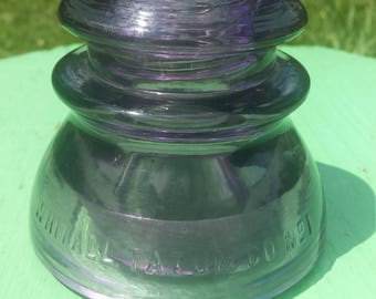 Vintage Purple Railroad Glass Insulator, Rare Amethyst Insulator, 1940s Whitman and Tatum Co Number 1 Telephone Pole Glass Insulator