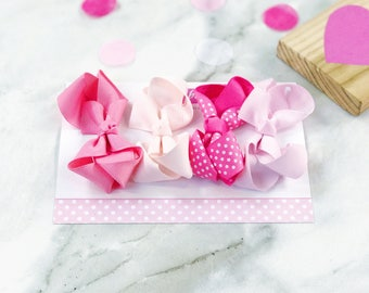 Gift Set of 4 Mini Boutique Bows in Pink Dotty