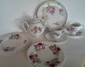 Country roses tea set for two