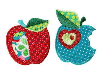 Patch/ironing-apples fruit-red/blue-various sizes-by catch-the-Patch ® patch appliqué applications for ironing application patches patch