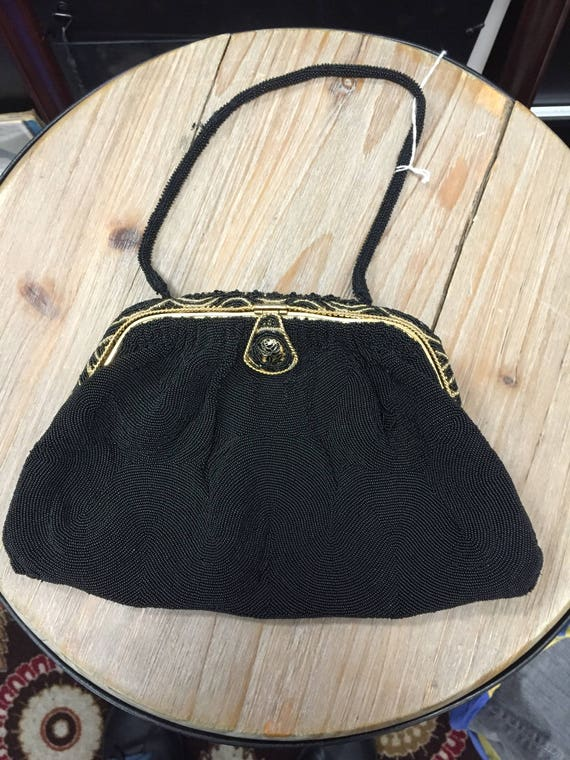 Vintage Beaded 1950s Handbag Purse Made in France