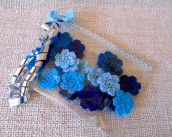 Crochet flowers, variegated of blue, summer trend, set of 23