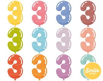 Number Three Balloon Clipart Illustration for Commercial Use   0508