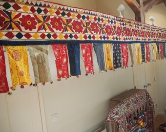 Huge Vintage Indian Holy Antique Gujarat Temple Auspicious Toran Trim Valence Textile Bunting Flag Wall Hanging