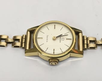 1960's Vintage Ladies 9ct Gold Omega Bracelet Watch  with case