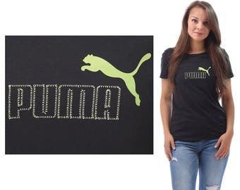 PUMA Tee Shirt 90s Relax Fit Black Green Puma Logo Embroidered Active Wear Outside Activity Sports Shirt Men Women Unisex Top Small Medium