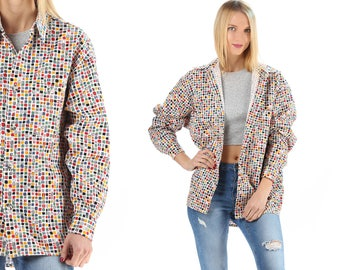 PIXEL ART Shirt 80s Rainbow Button Up Cotton Vivid Hipster Vintage 1980s Long Sleeve Oversized Large
