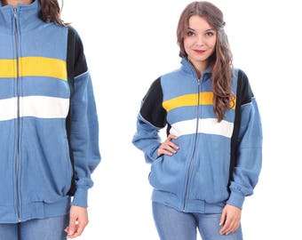 Retro Track Jacket 80s Striped Jacket Zip Up Hipster Navy Baby Blue Yellow 1980s Sport Vintage Tracksuit Large