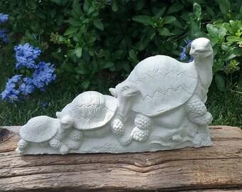 Turtle, Cement Turtle Family, Turtle Garden Family, Turtle Figures Cast Stone, Statuary, Garden Art, Home Decor, Concrete Turtles