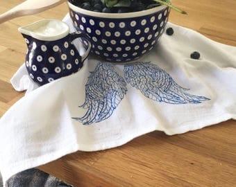 100% cotton table napkins.Cloth Napkins.Eco Friendly Dinner Napkins.Set 4 Cotton Cloth Napkins.Screen Printed Napkins.Angel's wings napkins.