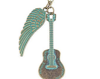 Verdigris Guitar and Wing Necklace