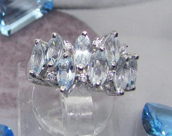 Woman in silver and Topaz ring size 58 blue azure