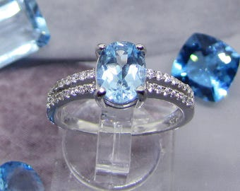Ring Blue Topaz and cubic zirconia on silver size 52