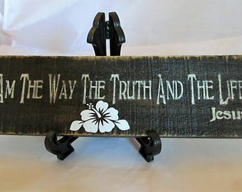 """Distressed, Rustic Pallet W Sign, says """"I am the Way the Truth and the Life, Jesus"""" Walnut stain, Acrylic Paints, >>Clearance Sale<<"""