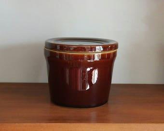 Vintage Denby Kitchen Storage Pot, Lidded Cheese Pot, Pottery Cheese Jar, Gift Idea, Decorative, Chestnut Glazed Stoneware
