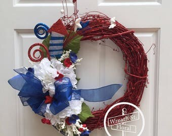 Patriotic Wreath, Americana Wreath, RedWhiteBlue Wreath, 4th of July Wreath, Summer Wreath, Grapevine Wreath, Wreath Street Floral