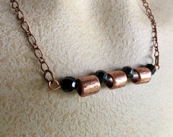 3 Floating Copper Necklace/ Black Glass beads/ Unique Necklace for Women/ copper and black necklace/ up-cycled materials
