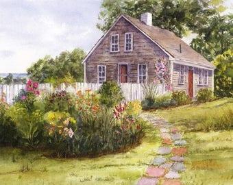 Watercolor Print of Original Painting, Cape Cod House, Garden, Watercolor Landscape, Giclee Print, Watercolor Painting, Garden