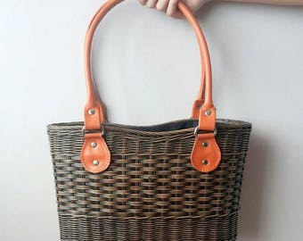 Straw tote bag. Rattan genuine leather bag. Ata bag. Basket tote. Beach bag. Picnic bag. Summer bag. Market bag. Organic bag. Wicker bag.