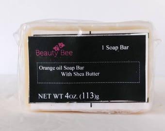 Beauty Bee handmade orange oil soap bar with shea butter