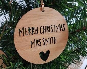 Personalised Wood Christmas Decoration / Ornament for Teacher / Heart-teacher gift