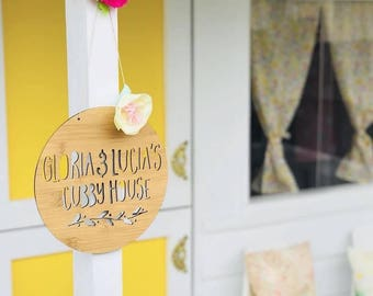 Personalised Wooden Cubby House Sign Garland Design 19.5cm-plaque-lasercut-treehouse-wall decor-home living-kids gift