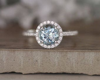 Round 7mm Natural Aquamarine Engagement Ring, 14k White Gold Aquamarine and Diamond Halo Ring, Bridal Ring, Rose Gold Wedding Ring, Promise