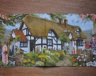 "home deco ""Cottage"" themed paper napkin"