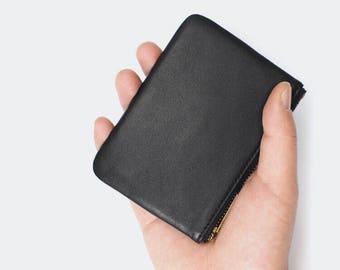 Handmade Black Leather Card Holder Business Card Case Credit Card Wallet Gift for him Gift for her