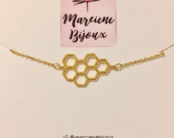 Honeycomb Dainty Gold Chain Choker | Necklace