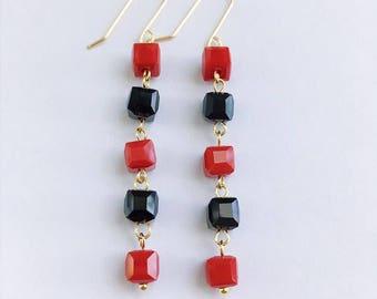 Cube Dangle Earrings, Cube Earrings