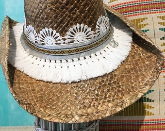Cowboy hat  Straw hat  Handmade  Custom hat   Sun hat  Summer hat  Beach hat  Chapeau de paille  Sombrero de paja  Strohhut  Gifts for her