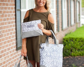 Ella Grey Collection, Weekender, Shoulder Bag, Zip Pouch, Monogrammed Gift, Embroidered Bags, Free Personalization