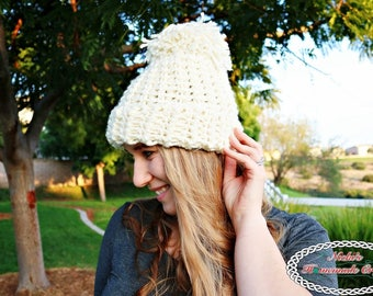 Crochet Pattern: Chunky Knit-Like Hat inspired by Chloe Kim and Team USA from the Olympic Winter Game 2018
