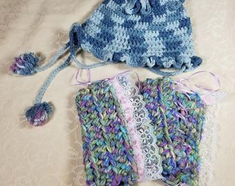 Crocheted Leg Warmers & Bonnet, Infant Size