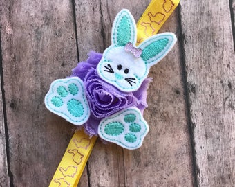 Baby easter gift etsy bunny headband easter bunny headband baby girl bunny bow easter gift girl negle Choice Image