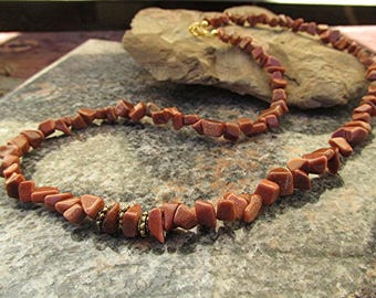 Red goldstone necklace goldstone chip necklace gemstone necklace healing necklace yoga chakra wicca witchcraft pagan meditation gift.