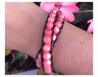 Pink coral double wrapped beaded bracelet :)