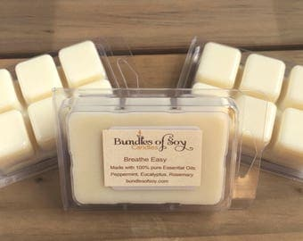 Breathe Easy Wax Melts / Soy Wax Melts / Eucalyptus / Peppermint /Rosemary / Essential oils / Aromatherapy / Sinus Relief / Soy Melts / Spa