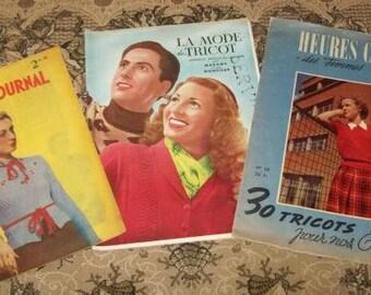 3 revues anciennes de tricot