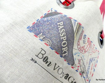 "Natural linen, ""good trip"" tote bag"