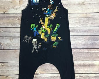 6-9 month Baby Upcycled Minecraft Harem Romper
