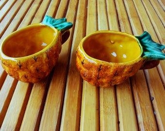 VALLAURIS - pineapple cups - pineapple bowls - slip - made in France - Vintage - Collector - Original - Hand-painted -