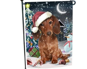 Holly Jolly Christmas Holiday Dachshund Dog Wearing Santa Hat Garden Flag